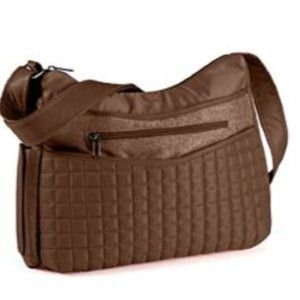 LUG Aerial Brown Quilted Crossbody Bag Purse